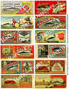 Printed Stickers Antique Salmon Can Labels by RarePaperDetective