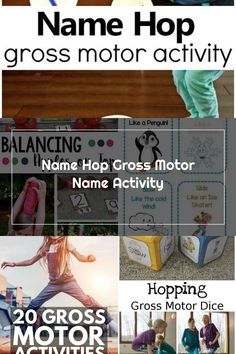 Name Hop Gross Motor Name Activity-Such a fun way to teach preschoolers to recognize their name! #preschool #nameactivity #grossmotor Name Activities, Gross Motor Activities, Pre School, Names, Teaching, Fun, Learning, Education, Teaching Manners