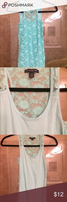 🌻just in American Eagle Outfitters mint tank Adorable EUC American Eagle Outfitters tank in mint with back in lace, round neck, long length sleeveless darker mint than last 2 pics because of the flash 1st pic best showing color American Eagle Outfitters Tops Tank Tops