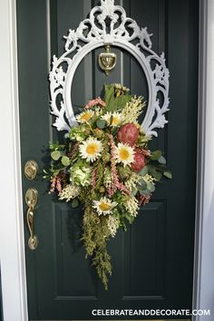 Use a picture frame to make a door wreath. A DIY wreath idea for late summer…