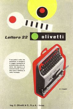 Giovanni Pintori, advertising artwork for the portable typewriter Lettera 22, 1952. For Olivetti, Italy