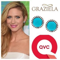#BrittanySnow wearing our Graziela Gems for #QVC Sleeping Beauty #Turquoise earrings. Make them yours for only $139.84 available online at QVC. #jewelry #gemstone #earrings #celebrity