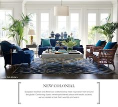 British Colonial Style - 7 steps to achieve this style. Find out how to create this classic look which is the basis of modern day Hamptons and Caribbean style and also has elements of contemporary style with the botanical and greenery trend. Interior, Blue Living Room, Blue Rooms, Colonial Furniture, West Indies Decor, Home Decor, British Colonial Decor, Interior Design, Living Decor