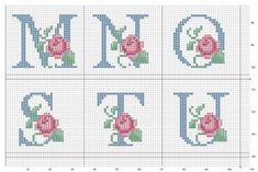 Gráficos Ponto Cruz Abecedário (Rosas) - A Minha Esfera