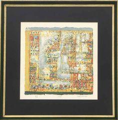 """Lote 4299 - MANUEL CARGALEIRO (n.1927) - Serigrafia a 8 cores sobre papel Fabriano, assinada, série EA, tirada no atelier de N. A. Pacheco, título """"Portalegre"""", com 36x36 cm (moldura com 58x45 cm). Está reproduzida na página 50 do catalogue raisonné """"Cargaleiro - Obra Gravada - 1954/2009"""". Serigrafias deste autor atingem valores de venda em leiloeiras nacionais de €3.500. Nota: Manuel Cargaleiro é um dos maiores artistas plásticos portugueses. Nasceu no ano de 1927, em Chão de Servas…"""