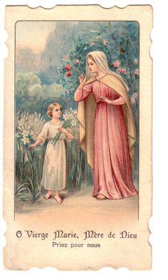 Holy Card O Vierge Marie Mere de Dieu Priez Pour Nous