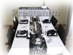 déco de table baroque noir et blanc