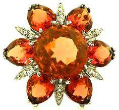 Vtg-Massive-REJA-Sterling-Flower-Figural-Topaz-Crystal-Rhinestone-Brooch-Pin