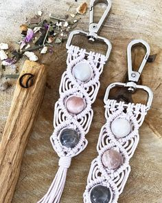 Moonstone Key Chain Macrame pearl
