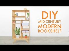 Today on Modern Builds: How to build a mid century modern bookcase out of maple plywood. I used limited tools to create this simple woodworking p Plywood Bookcase, Bookcase Plans, Bookcase Shelves, Plywood Floors, Tree Bookshelf, Wood Flooring, Shelving, Mid Century Modern Bookcase, Modern Bookshelf
