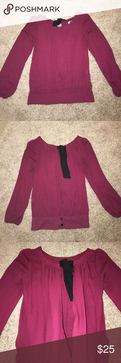 Beautiful Open Back Blouse Purple/red (burgundy) with black tie, loose fitting but fitted around waist and wrist, back is open - ties at top buttons at bottom, great condition Boutique Tops Blouses