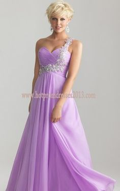 Purple One-Shoulder Evening Formal Prom Party Gown Cocktail ...