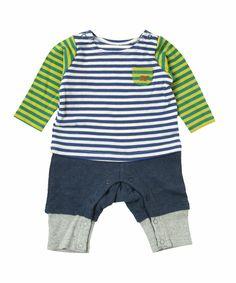 baby ampersand(ベビー アンパサンド)のボーダー切り替えカバーオール(ロンパース)|ブルー