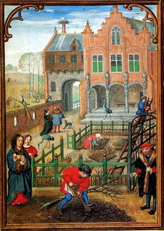 A young lady with little dog in her arms observes planting a tree in the castle garden. Miniature by Simon Bening in the Hennessy Hours, Bruges, ca. 1530.  Brussels, Royal Library of Belgium, Ms. ii 158, fol. 3v