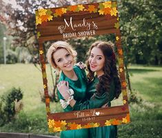 Fall Bridal Shower Photo booth Prop Frame Fall Wedding Photo