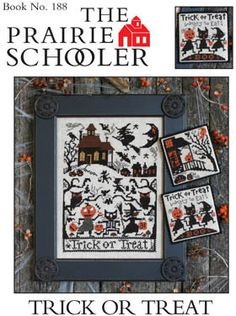 Prairie Schooler Trick Or Treat - Cross Stitch Pattern. Model stitched on 32 Ct. Lambswool linen with DMC floss. Stitch Count: 137H x 99W. Ornaments have a stit