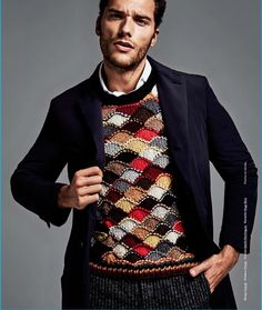 """Model Aurelian Muller seems annoyed that knitters keep calling this Prada sweater the """"Eddie Redmayne sweater,"""" when clearly he also is wearing it very well. #todayonmdk we have Julia @farwellclay adding her thoughts to the conversation about how the stitch pattern works. #knityourownPradasweater #6000dollarsweatersofInstagram #knitdetectivesofInstagram @sweaterspotter"""