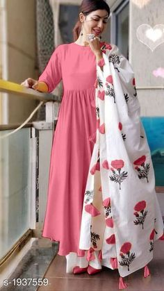 Printed New Style Light Pink Color Digital Print Palazzo Suit Jj Dresses, Indian Gowns Dresses, Indian Fashion Dresses, Dress Indian Style, Hijab Fashion, Fashion Outfits, Long Dress Design, Stylish Dress Designs, Designs For Dresses