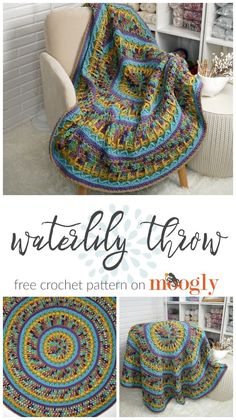 Easy Crochet Afghans Waterlily Throw free crochet pattern in With Love yarn from Moogly. - The Waterlily Throw is a circular crochet afghan with lots of color and texture, ready for cozying up with this winter! And it's a free pattern on Moogly! Crochet Afghans, Moogly Crochet, Easy Crochet, Crochet Stitches, Free Crochet, Crochet Blankets, Crochet Owls, Baby Afghans, Crochet Animals