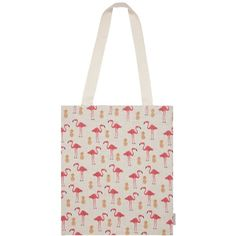 Fenella Smith - Flamingo & Pineapple Tote Bag (€28) ❤ liked on Polyvore featuring bags, handbags, tote bags, tote purses, canvas handbags, canvas totes, handbags totes and white handbag