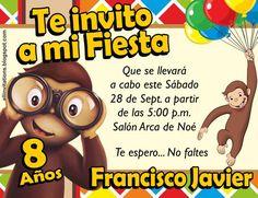 Invitación Jorge el curioso Baby Shower, Curious George, Ideas Para Fiestas, Paw Patrol, Party Themes, Birthday, Milan, Toddler Girls, Birthday Invitations