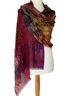 Soft and lightweight Modal / Cashmere blend scarf / wrap 93 Modal 7 Cashmere The fabric falls and drapes beautifully very versatile as can be worn in Pashmina Wrap, Purple Yellow, Free Uk, Fair Trade, Different Styles, Scarf Wrap, Tie Dye Skirt, Shawl, Cashmere