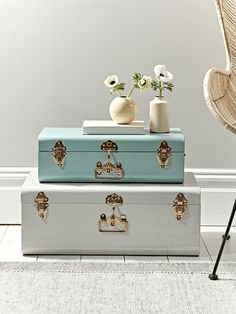 The perfect decorative accessory for your lounge or little one's room, this set of two metal trucks contains two sizes, each in a different colour. The smaller of the set is a soft eau de nil colour and the large a muted putty, and each has copper coloured fastenings and a decorative handle detail. Display separately or stack together for storage that looks truly fabulous. affiliate link
