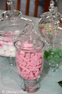 Glass lolly jars Bridal Shower Tables, Bridal Shower Signs, Bridal Shower Party, Candy Bowl, Candy Jars, Lolly Jars, Wedding Candy, Wedding Themes, Wedding Ideas