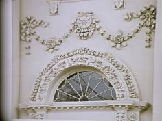 White House exterior detail - Italian relief carvings, with the barrel-vaulted arch.