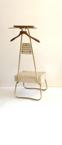 Retro Spiegel Men Valet Chair Clothes Wardrobe Valet Butler Brass Wood  Vinyl Vintage MidCentury By