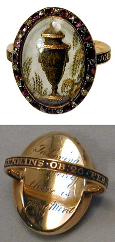 """18th C. Urn Motif Memorial Ring with Diamond & Amethyst Surround. Exquisitely crafted hair paint memorial ring of an urn embellished with gold and surrounded by weeping willow branches. The enamel band says """"JOHN JENKINS .OB:20:FEB:1780"""". The urn motif is surrounded by alternating amethysts and rose diamonds and on the reverse the inscription reads """"In Loving one Sincerely there is great Merit""""."""