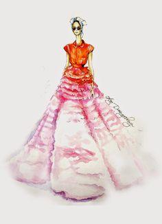 OlgaDvoryanskaya olga@pr-butik.com Giambattista valli fashion illustration haute couture 2014 fashionweek Paris fashion sketch watercolor