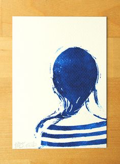 Limited edition linocut print Sailor girl blue by raichels on Etsy, $8.00
