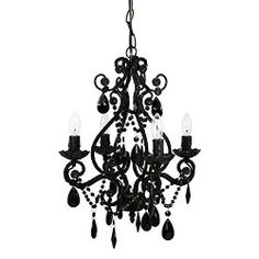 Cheap Small Black Crystal Chandelier for Small Nursery, Girls' and Teens' Rooms