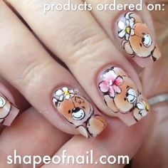 Would you ever try this super cute nail art? By: shapeofnail Would you ever try this super cute nail art? By: shapeofnail Panda Nail Art, Animal Nail Art, Nail Art Designs Videos, Nail Art Videos, Easter Nail Designs, Thanksgiving Nail Art, Super Cute Nails, Cute Nail Art, Flower Nails
