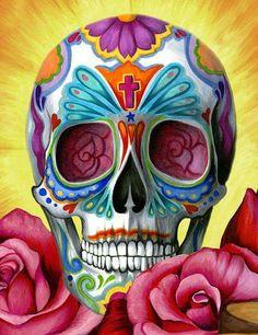 Skulls, candy skulls, sugar skull tattoos, sugar skull art, skull can La Muerte Tattoo, Catrina Tattoo, Sugar Scull, Sugar Skull Art, Sugar Skull Painting, Body Painting, Pink Skull, Mexican Skulls, Mexican Folk Art