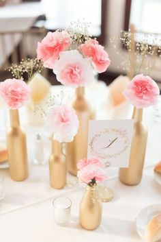 Wedding table numbers pink wine bottles 32 Ideas for 2019 Pink Flower Centerpieces, Pink Flower Arrangements, Wine Bottle Centerpieces, Wedding Table Centerpieces, Wedding Table Numbers, Wedding Reception Decorations, Wine Bottles, Wedding Ceremony, Quince Centerpieces