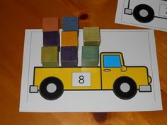 Truck load math mat - children identify the number on the truck and then load it up with the right amount of cargo.