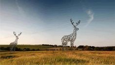 Deer shaped electrical transmission lines in Russia