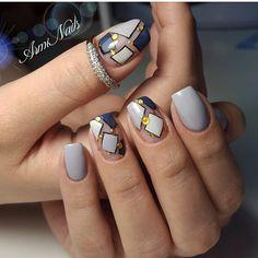 Cute Nail Art Designs For Short Nails 2019 58 Elegant Nail Designs, Creative Nail Designs, Simple Nail Art Designs, Elegant Nails, Beautiful Nail Designs, Cute Nail Designs, Beautiful Nail Art, Vintage Nails, Geometric Nail Art