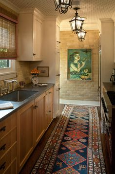 Spanish Rug Design Ideas, Pictures, Remodel, and Decor hmmmm-my kitchen floor painted like this galley styled kitchen.