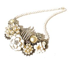 Flower Bib Necklace, Vintage Jeweled Necklace, Handmade Bridal Jewelry by Dabchick Vintage Gems