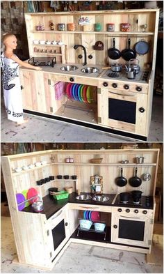 pallets-wooden-kids-mud-kitchen-plans kids kitchen 70 Inspirational DIY Ideas for Kids Pallet Mud Kitchens Mud Kitchen For Kids, Diy Play Kitchen, Play Kitchens, Kids Wooden Kitchen, Outdoor Play Kitchen, Kitchen Ideas, Backyard Kitchen, Kitchen Craft, Diy Kids Furniture