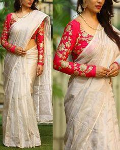 Soft silk designer saree & salwar suits embroidered lehenga choli page 5 sari bhandar Pattu Saree Blouse Designs, Saree Blouse Patterns, Fancy Blouse Designs, Salwar Suit Neck Designs, Fashion Designer, Indian Designer Outfits, Mix Match, Sari Design, Saree Trends