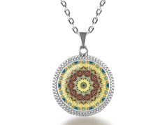 Mandala (yellow) Glass Dome Pendant Necklace - pinned by pin4etsy.com