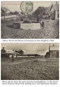 Two views of the same location in New Brighton. First Postcard has a date of 1906 but no date on the lower photo. Christchurch New Zealand, New Brighton, Fountain, Random, Beach, The Beach, Water Fountains