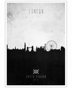Black and White London skyline. United Kingdom. London Contemporary Cityscape by Calm The Ham now on Juniqe.com | Art. Everywhere.