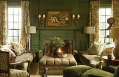 The Best Country Living Room Design Ideas With Fireplace Mantle - The B. - The Best Country Living Room Design Ideas With Fireplace Mantle – The Best Country Livin - Farrow And Ball Living Room, Living Room Green, Green Rooms, Living Room Decor, Green Family Rooms, Green Painted Walls, Green Walls, Color Walls, Paint Colours