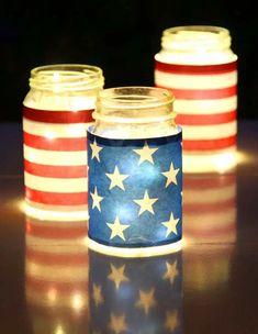 July Mason Jar Lights Decorations ( For Labor Day too!) Magical & easy DIY July mason jar lights decorations (for Labor Day too): gorgeous as July party decor, centerpi. Patriotic Crafts, July Crafts, Diy And Crafts, Paper Crafts, Summer Crafts, Kids Crafts, Food Crafts, Mason Jar Centerpieces, Mason Jar Candles