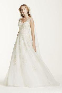 Jewel Tank Tulle V-Neck Beaded Wedding Dress - Davids Bridal